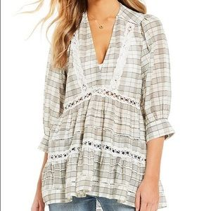 Free People Time Out Lace Tunic Baby Doll Top S